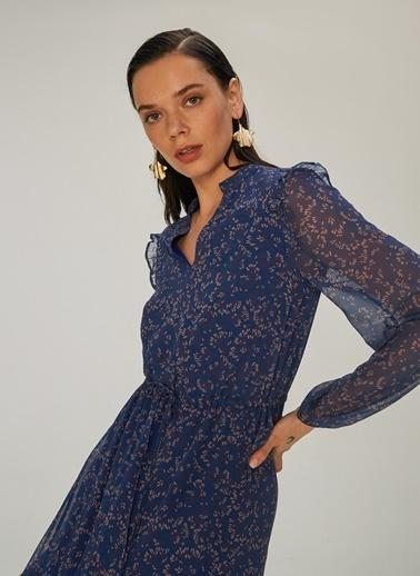 NGSTYLE Fırfır Detaylı Desenli Elbise Lacivert